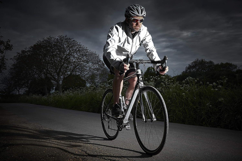 Ettore Herren Fahrradjacke wasserdicht atmungsaktiv High-Vis reflektierende Silber Night Glow