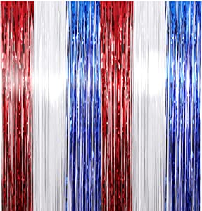 4th of July Red White Blue Tinsel Foil Fringe Curtains DIY Garland Independence Day Party Photo Booth Props Backdrop Door Wall Decorations America Theme Birthday Party Supplies