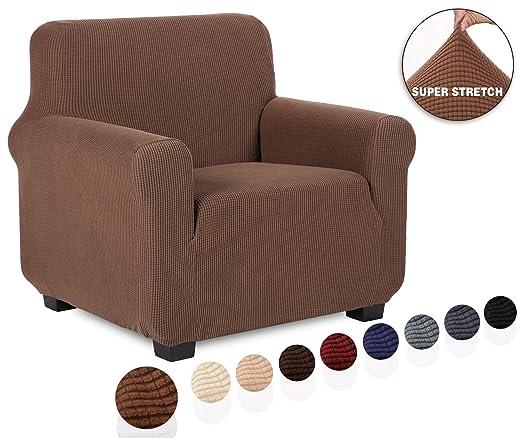 TIANSHU Funda de sillón,Material Jacquard poliéster y Elastano Fundas de sofá Suaves Resistentes(Funda de sillón,Café)