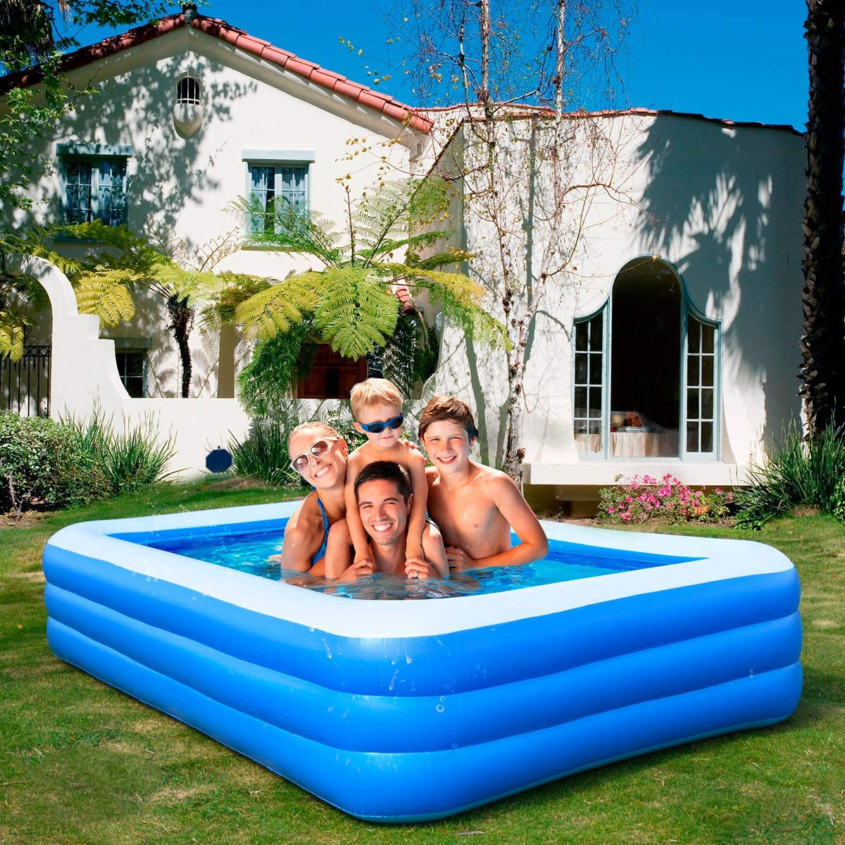 for Adults Ruixin Inflatable Swimming Pools Kids Outdoor 120X71X24 in Babies Garden,Backyard