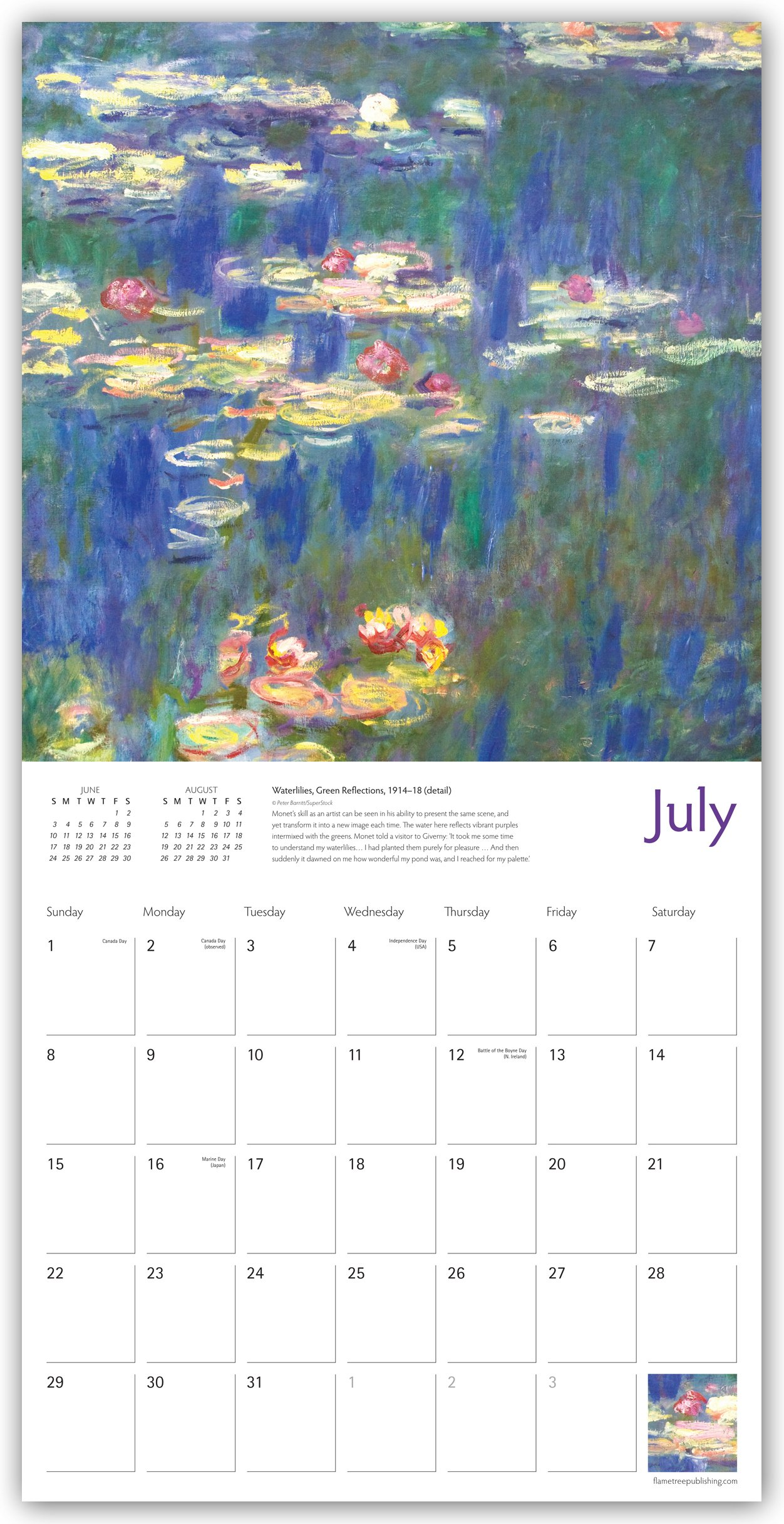 Amazon.com: Monet's Waterlilies Wall Calendar 2018 (Art Calendar)  (9781786642868): Flame Tree Studios, Claude Monet: Books
