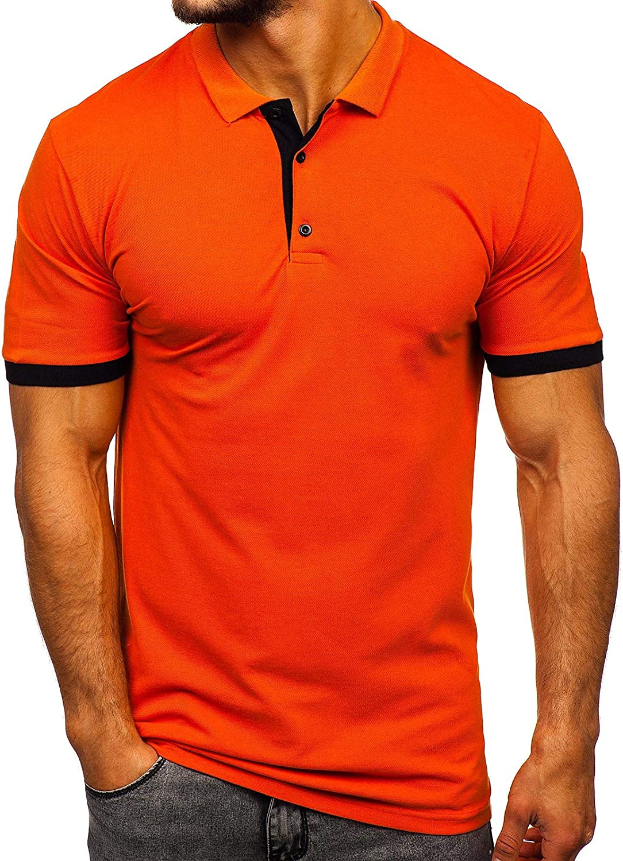 BOLF Hombre Camiseta de Manga Corta Polo Básica Unicolor Ajustada ...