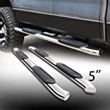 "5"" Oval Stainless Steel Side Step Rails Nerf Bar Running Boards With Bent Ends Fit 2004-2008 Ford F150 2006-2008 Lincoln Mark LT Supercrew/Crew Cab With 4 Full Size Doors Only"