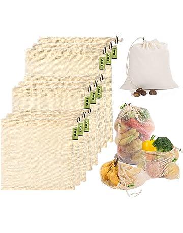 89304eb72 Laxus Bolsas de vegetales reutilizables de algodón, Ecológicas bolsas de  frutas y vegetales, malla