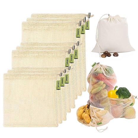 Laxus Bolsas de vegetales reutilizables de algodón, Ecológicas bolsas de frutas y vegetales, malla transpirables, Lavable y Libre de BPA, etiqueta de ...