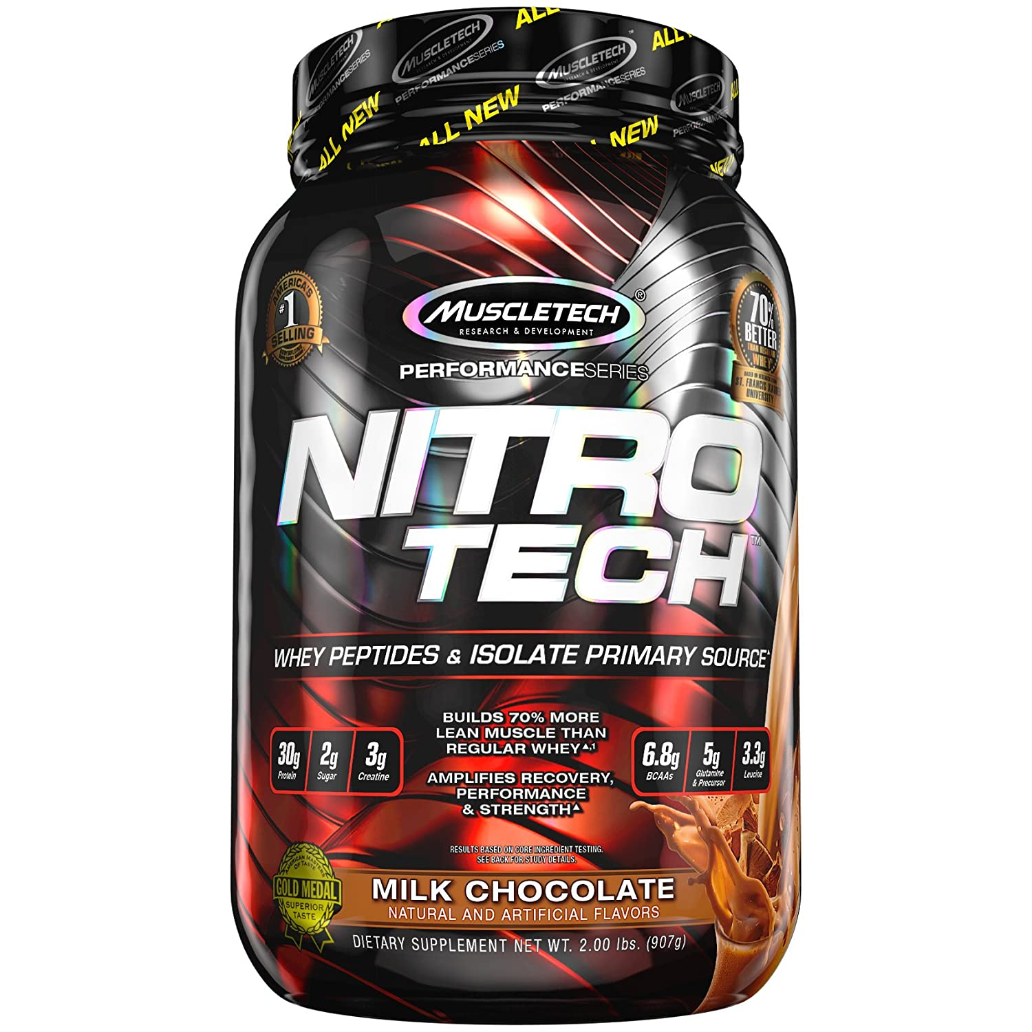 MuscleTech NitroTech Pure Whey Protein, 100% Whey Protein Powder, Whey Isolate and Whey Peptides, Milk Chocolate, 2 Pound
