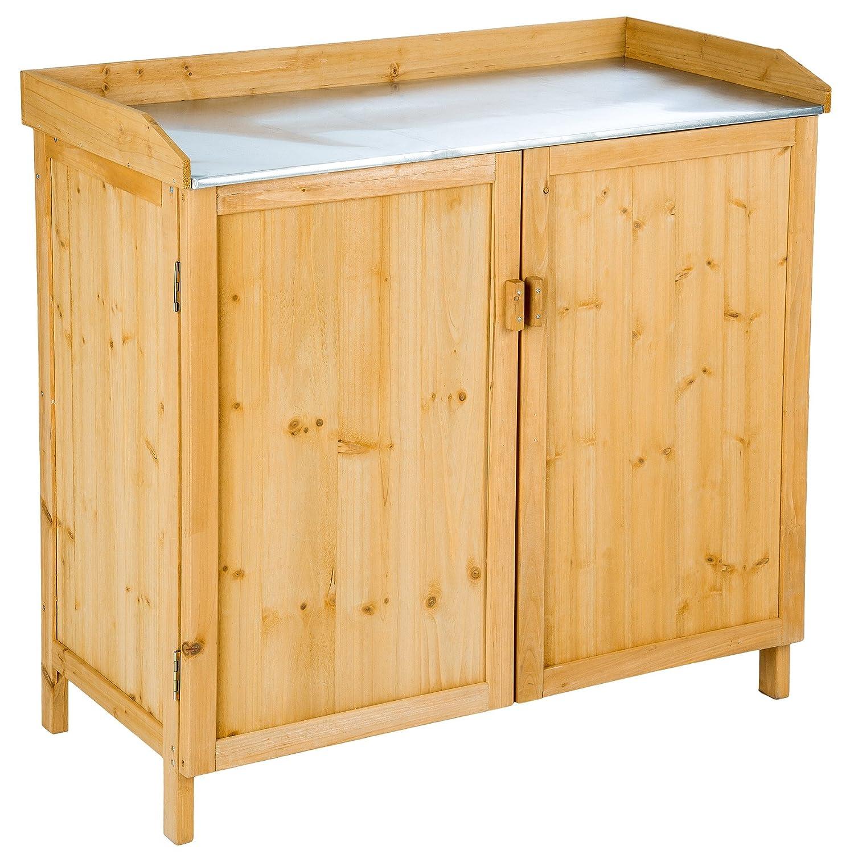 TecTake Pflanztisch Gartentisch mit Unterschrank | (LxBxH): 98 x 48 x 95 cm | mit verzinkter Arbeitsplatte