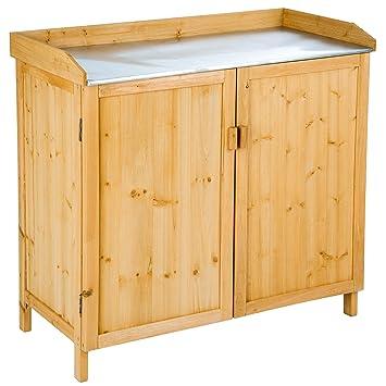 TecTake Table à plantes en bois avec armoire basse Table de semis et ...