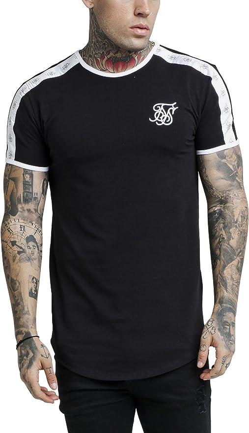 Sik Silk de los Hombres Camiseta de Gimnasio Curved hem, Negro: Amazon.es: Ropa y accesorios