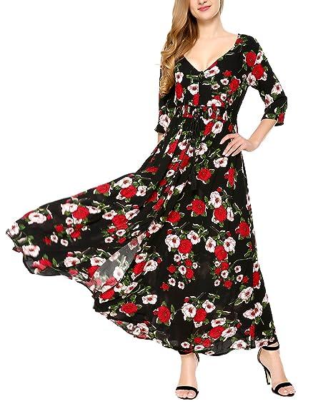 5a4fa2f4baa69 Womens Floral Print Maxi Dresses V Neck Boho Split Summer Beach Party Dress