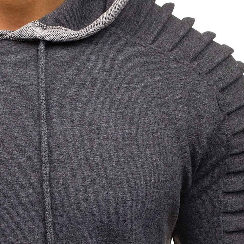 Katesid Mens Long Sleeve Pullover Hoodie Athletic Hooded Sweatshirts Workout Outwear with Zipper Pocket