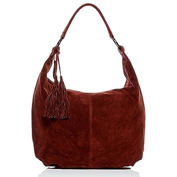 f3538b53bbe40 BACCINI Beuteltasche Leder Selina groß Hobo Bag Damen Schultertasche echte Ledertasche  Damentasche rot