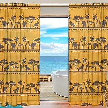 Vantaso Sheer Curtains 78 Inch Long African Animals Elephant Giraffe Lion Golden Yellow For Kids Girls