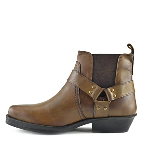 Mens Cowboy Leather Ankle Boots Biker Boots: Amazon.es: Zapatos y complementos