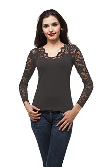 4fada0be4bd0d V Neck Long sleeve top with lace insert on sleeves at Amazon Women s ...