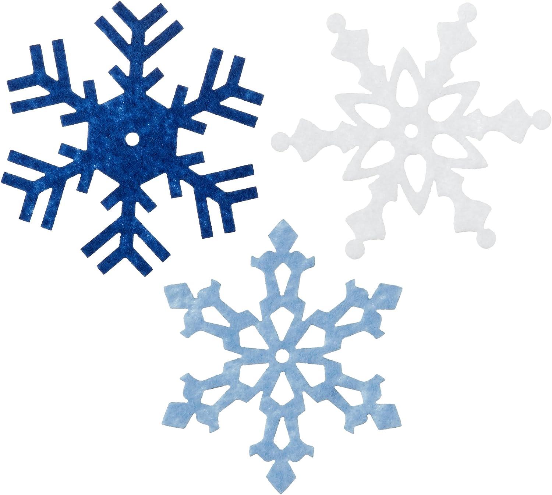 75 BULK Xmas SNOWFLAKE Felt stickers Kids Christmas Crafts Card Peel Stick