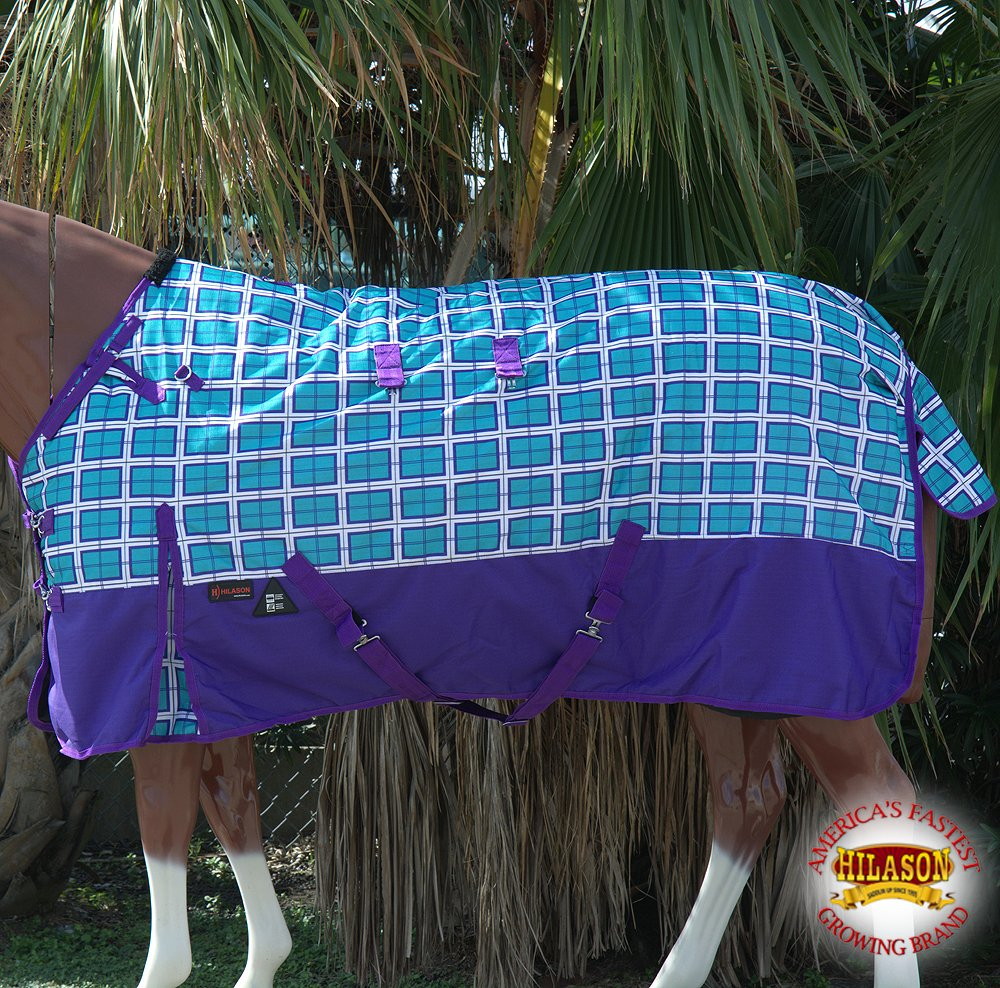 HILASON 72 1200D Waterproof Turnout Winter Horse Blanket Plaid Turquoise Print