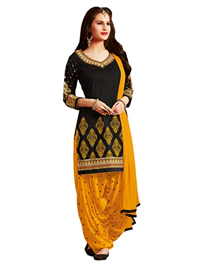 e6746c2c Sheknows Women's Cotton Unstitched Salwar Suit (PTHSK7052PA_41,Yellow &  Black): Amazon.in: Clothing & Accessories