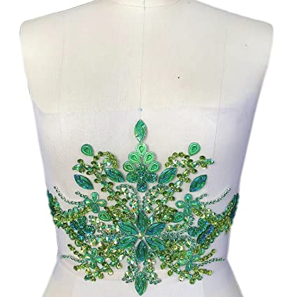 75908cba9 Gorgeous Pure Handmade Beaded Bling Bright Crystal Patches Sew on AB  Rhinestones Waist decoration Applique with