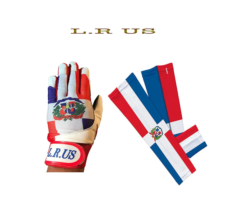 Dominican Republic Flagバッティング手袋&アームスリーブコンボ B06Y6C1X2YLarge