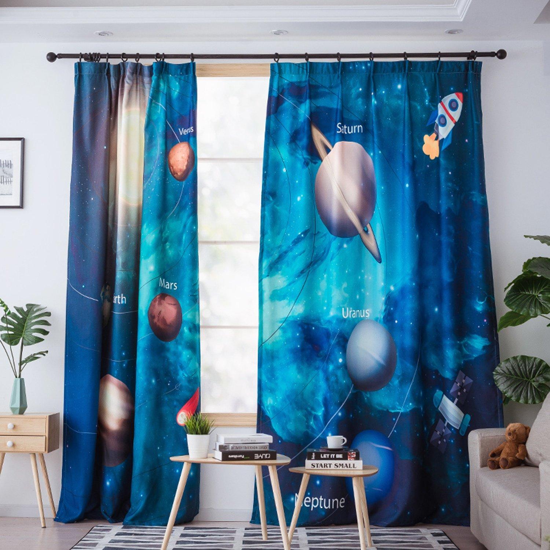 JINZA Vorhänge Sphere Cosmic Planet Muster Vorhänge fertig Modern Cartoon Kinderzimmer Schlafzimmer schwarzout Gardinen Kindergarten Klassische Vorhänge Mode Gardinen Polyester, 2.5m