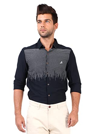a9a536c04 Roman Island Men's Black Printed Shirt Full Sleeves: Amazon.in: Clothing &  Accessories