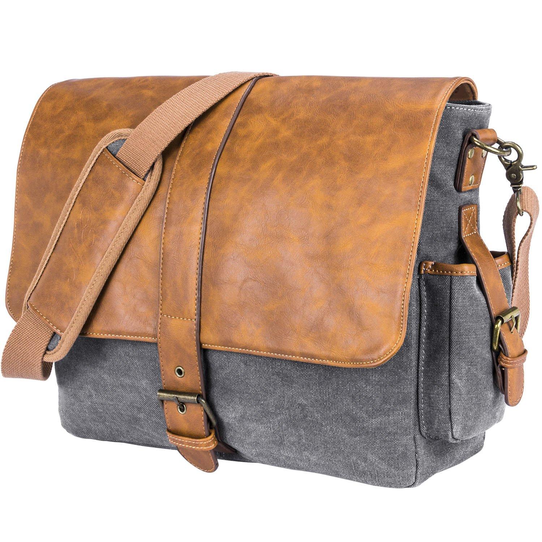 NiceEbag 15.6 Inch Laptop Messenger Bag for Men/Women Vintage Leather Briefcase for Travel Work College Large Shoulder Bag for Notebook/Tablet Canvas Satchel With Detachable Strap for School, Gray-Brown