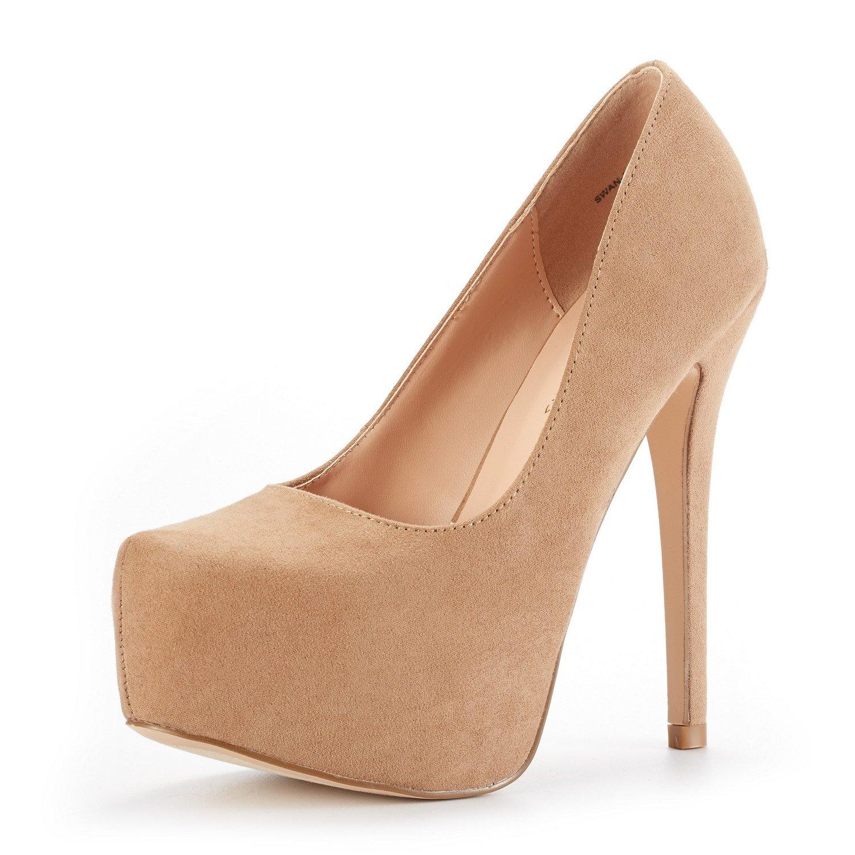 DREAM PAIRS Women's Swan-30 Nude Nubuck High Heel Plaform Dress Pump Shoes Size 8 M US