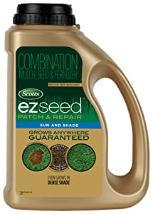 Scotts EZ Seed Patch and Repair Sun and Shade, 3.75 lb. - Combination Mulch, Seed and Fertilizer - Tackifier Reduces Seed Wash-Away - Covers up to 85 sq. ft. - 17508