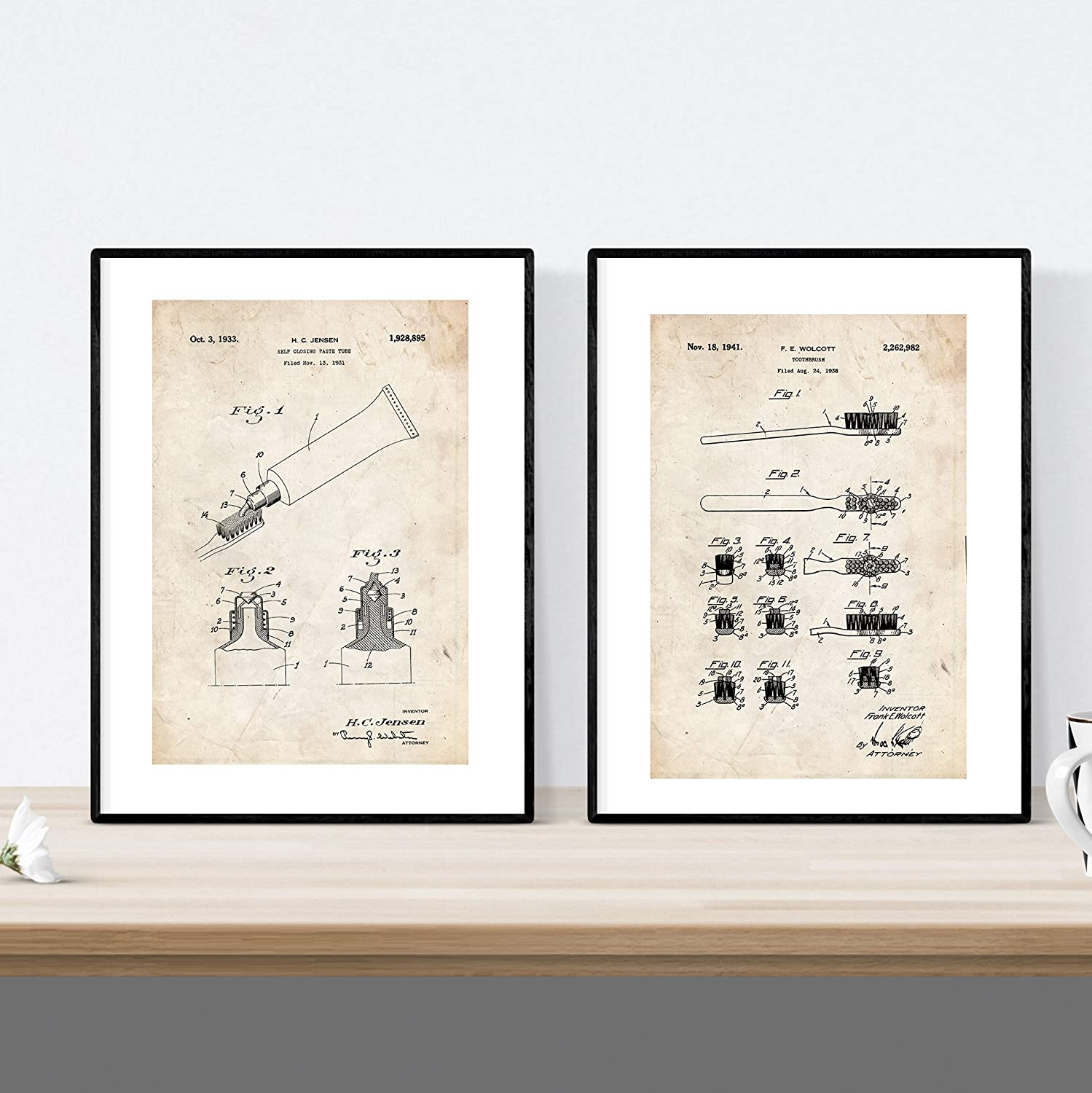 Nacnic Prints Vintage Patents Toothbrush & Toothpaste - Set of 2 - Unframed 8x11 inch Size - 250g Paper - Beautiful Poster Painting for Home Office Living Room