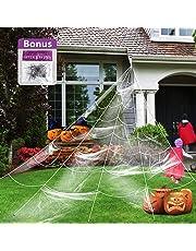 Giant Spider Web with Super Stretch Cobweb Set, Halloween Decorations Halloween Yard Decor Party Supplies Outdoor Huge Spider Web Yard Garden White, 16.4 X 15.7 Feet