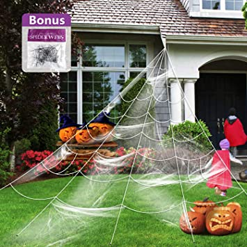 Halloween Yard.Giant Spider Web With Super Stretch Cobweb Set Halloween Decorations Halloween Yard Decor Party Supplies Outdoor Huge Spider Web Yard Garden White