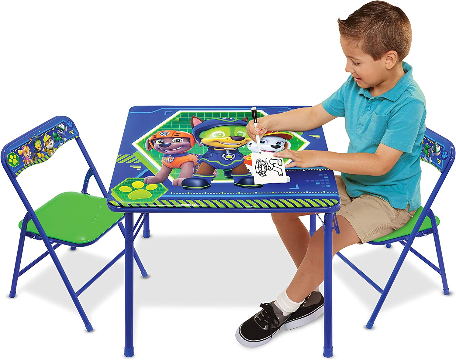 Nickelodeon Patrol Code Paw Activity Table Play Set with Two Chairs, Blue-Green