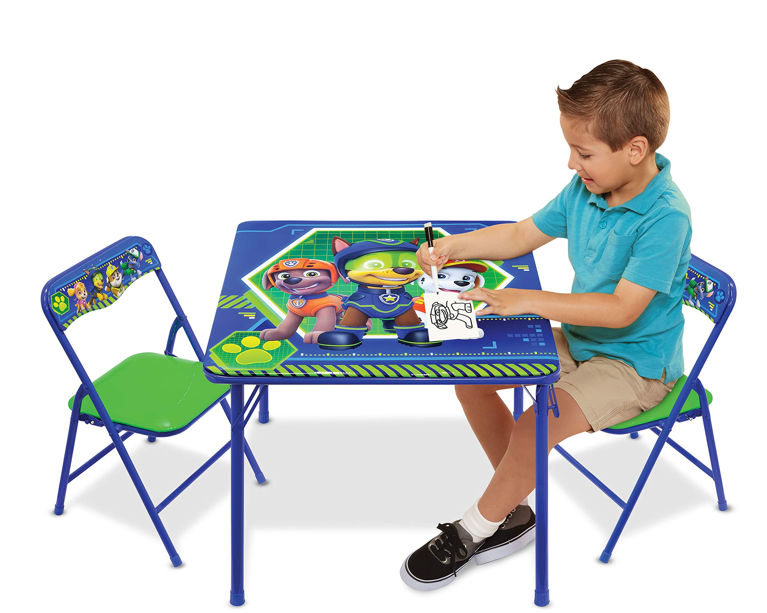 Nickelodeon Patrol Code Paw Activity Table Play Set with Two Chairs, Blue-Green by Jakks Pacific