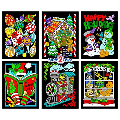Stuff2Color Christmas Coloring Scenes - Fuzzy Poster 6 Pack (Arrives Uncolored): Toys & Games