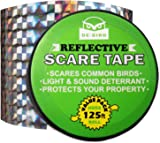 De-Bird Bird Repellent Scare Tape - Deterrent Ribbon Stops Damage and Deters Pests - Silver Diamond Pattern - 125 Ft/38.1M