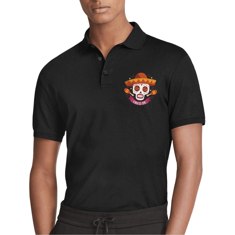 AIKYAN Cinco de Mayo Skull Funny Printed Mens Polo ShirtFunky Button Down