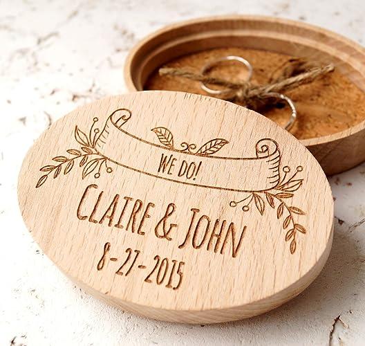 Amazoncom Ring bearer box personalized ring box rustic wedding