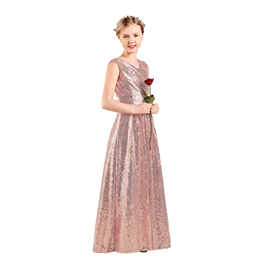 Long Junior Bridesmaid Dress Sequin Flower Girl Dress Rose Gold Formal  Wedding Party Pageant Maxi Dress 23a677fc7a90