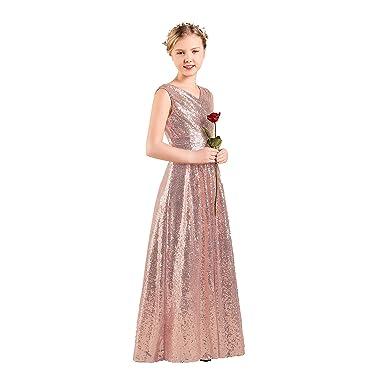 Long Junior Bridesmaid Dress Sequin Flower Girl Dress Rose Gold Formal  Wedding Party Pageant Maxi Dress 23a677fc7a90