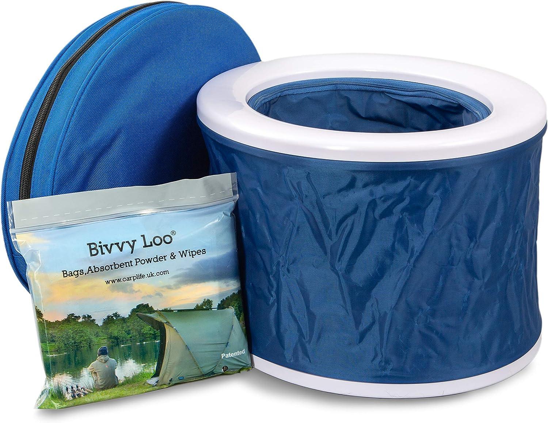 Bivvy Loo Inodoro portátil para Acampar Azul - Festival WC - WC para la Pesca - al Aire Libre Acampar Inodoro - Inodoro Campervan - Admite más de ...