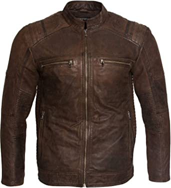 Quilted Men Brown Buffed Mens Fashion Leather Jacket