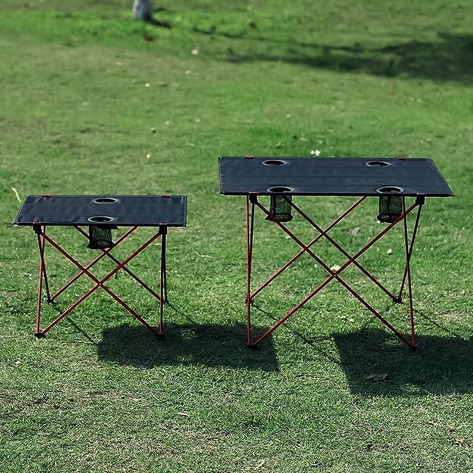 OUTRY ligero mesa plegable con portavasos, Mesa de Camping Portátil (G-desplegada: 75 x 56 x 53cm): Amazon.es: Deportes y aire libre