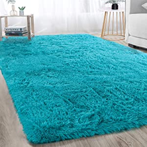 Soft Large Shaggy Area Rug 5x8FT for Bedroom Dorm Livingroom Nursery Kids Boys Room Decorative Anti-Skid Plush Fluffy Comfy Accent Fur Rugs Warm Modern Indoor Home Floor Carpet, Teal Blue