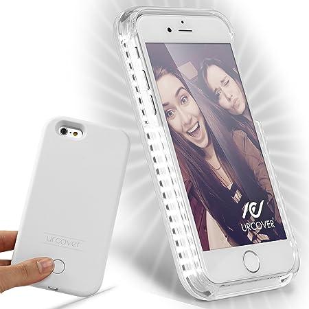 Urcover Custodia Selfie Case Cover Luce LED Luminosa Apple iPhone 6 Plus / 6s Plus | Guscio Rigido Antishock in Bianco | Bumper Protettiva ...