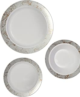 Party Joy 75-Piece Plastic Dinnerware Set | Marble Collection | (25) Dinner  sc 1 st  Amazon.com & Amazon.com: Party Joy 75-Piece Plastic Dinnerware Set | Gold Lines ...