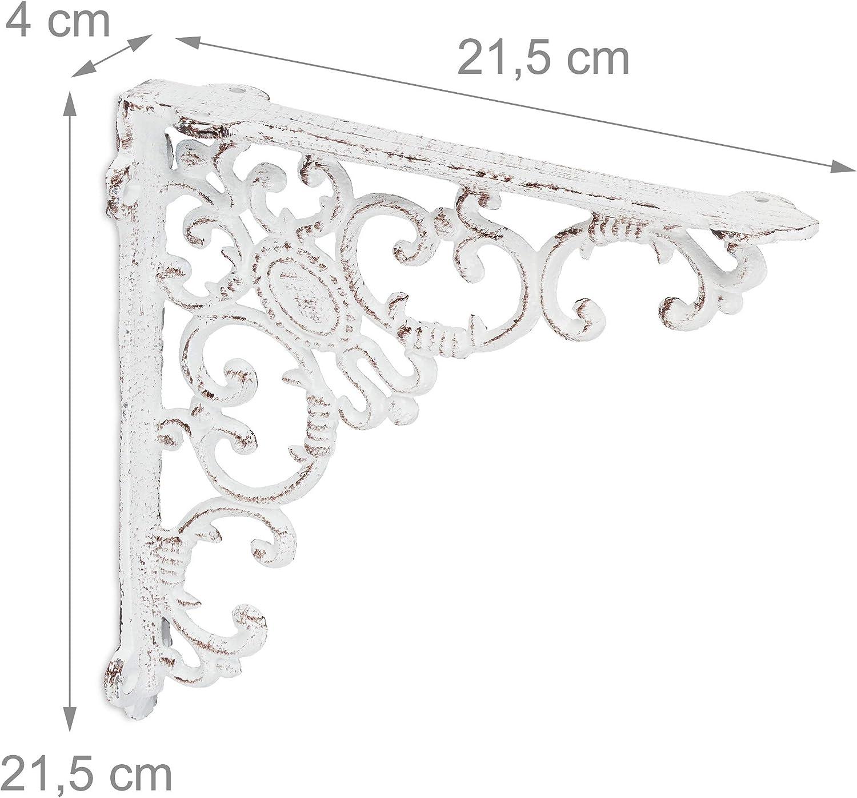 Reggimensola Angolari per Scaffali Relaxdays Staffe per Mensole Vintage Bianco Set da 2 Supporti dal Design Barocco 2 pz
