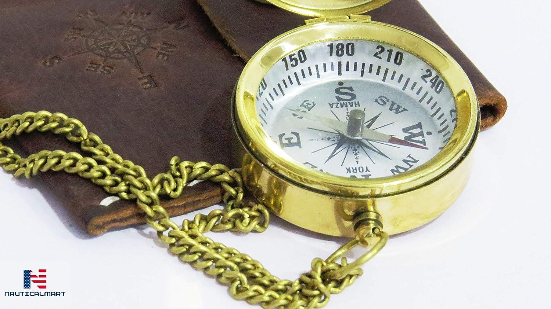 Brass Compass With Lid Nautical Pendant Vintage Antique Mini Pocket Style