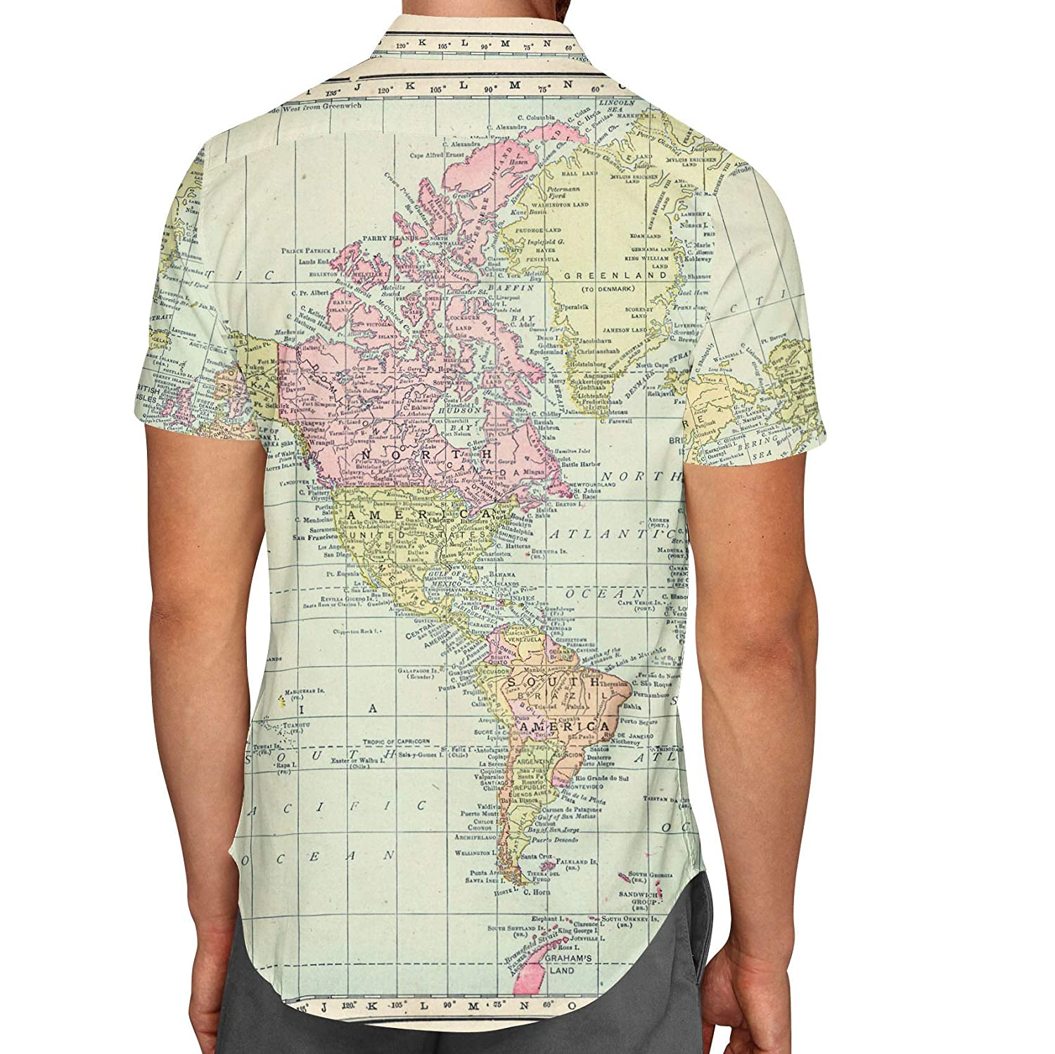World Map Button Down Shirt.Queen Of Cases Antique World Map 1913 Mens Button Down Short Sleeve