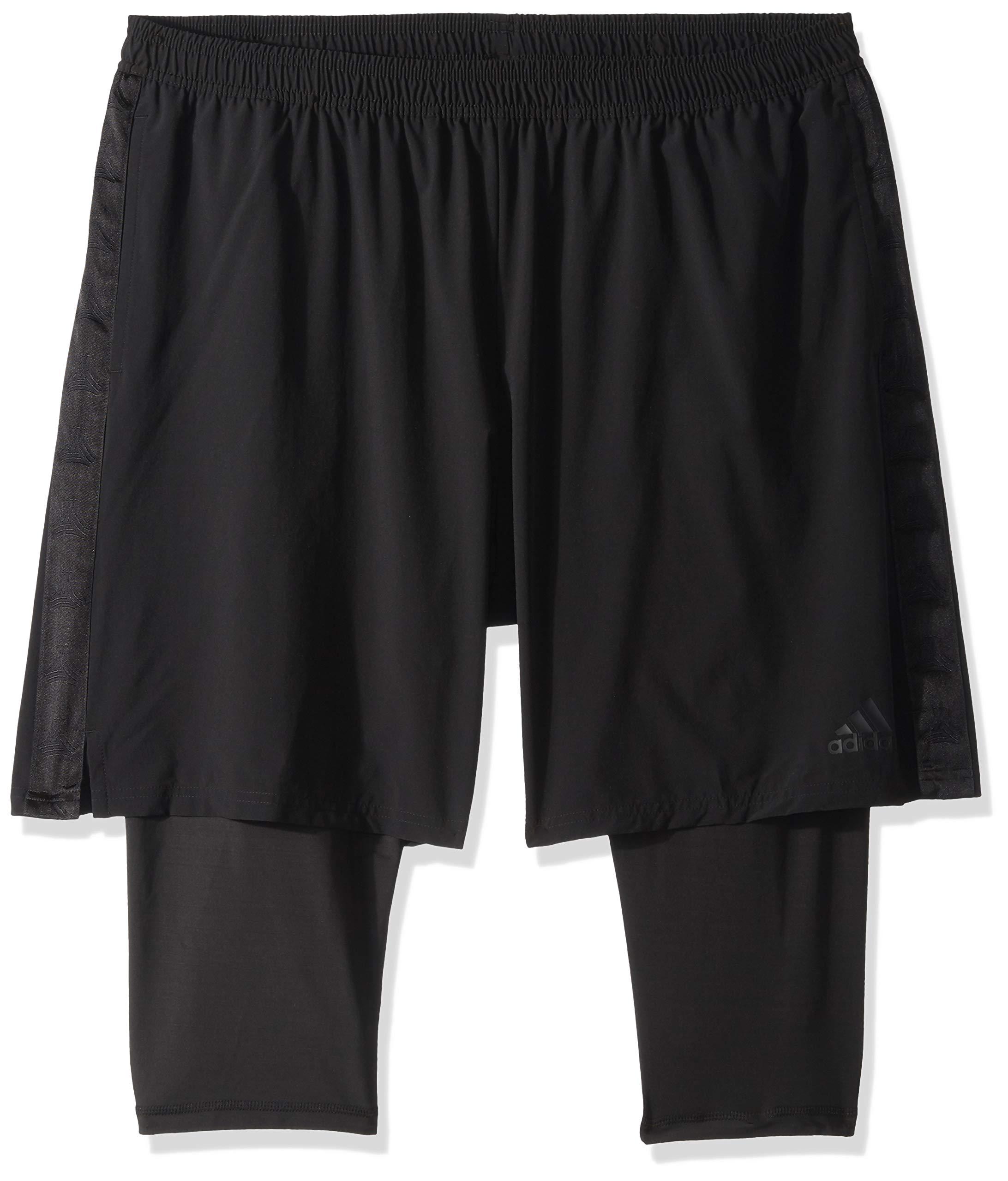 adidas Men's Soccer Tango Player 2-in-1 Short, Black, Medium by adidas